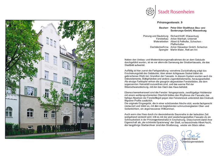 Urkunde-Fassadenpreis-home